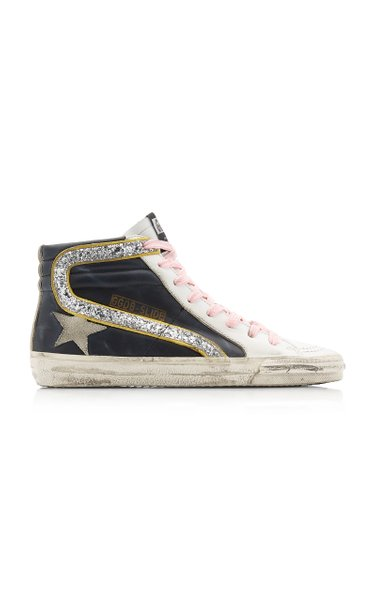 Glitter High-Top Leather Sneakers