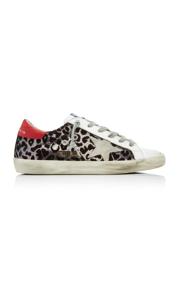 Superstar Distressed Sequined Leather Sneakers