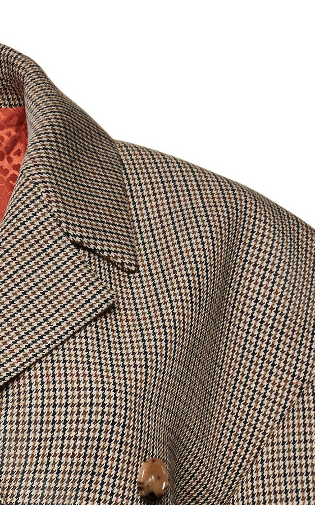 Bursa Checked Double-Breasted Wool Blazer