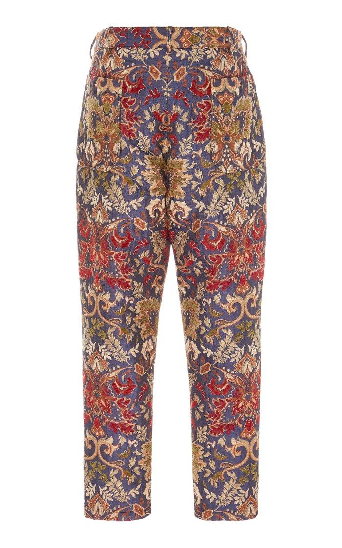 Carlyle Floral-Jacquard Pants