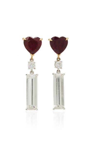18K Gold Garnet, Diamond and Topaz Earrings