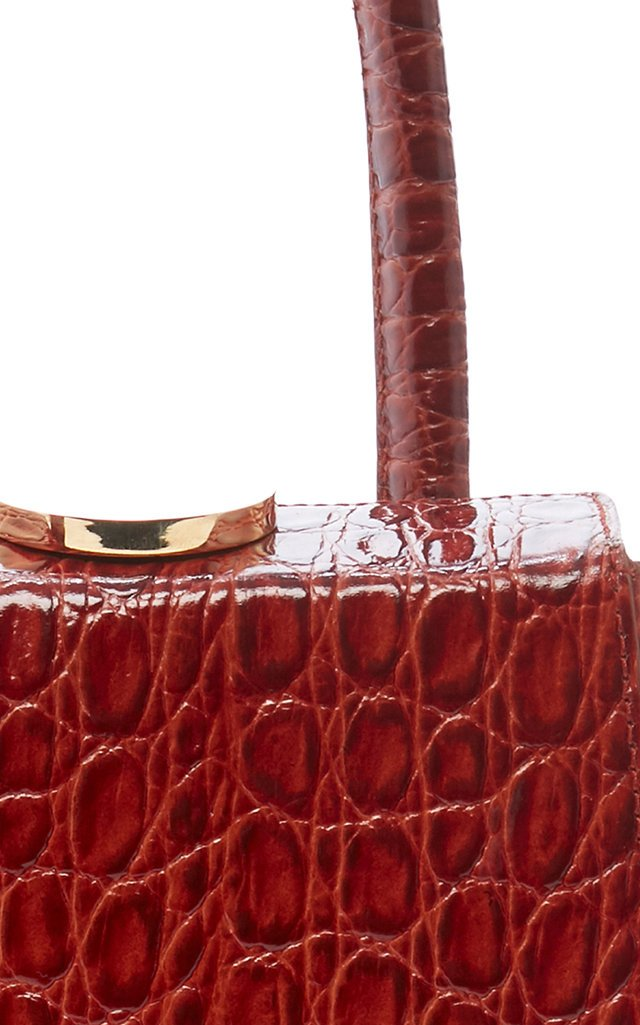 Mademoiselle Croc Embossed Leather Bag