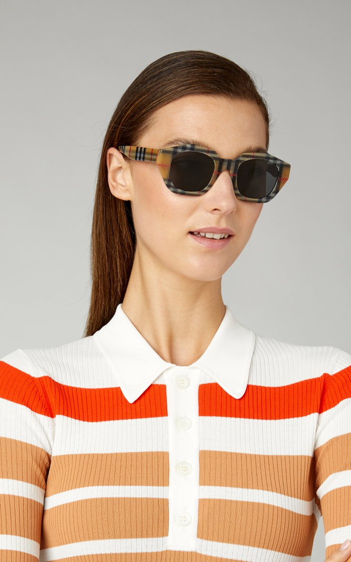 Hexagon-Frame Checked Acetate Sunglasses