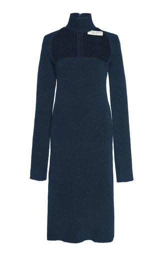 Cutout Turtleneck Stretch-Wool Crepe Dress