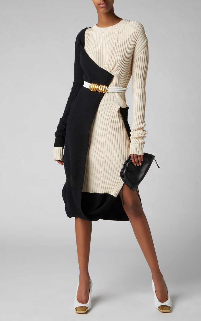 Ribbed Two-Tone Mohair-Blend Dress