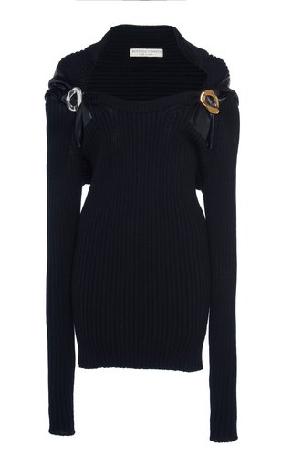 Leather-Trimmed Ribbed Wool Sweater