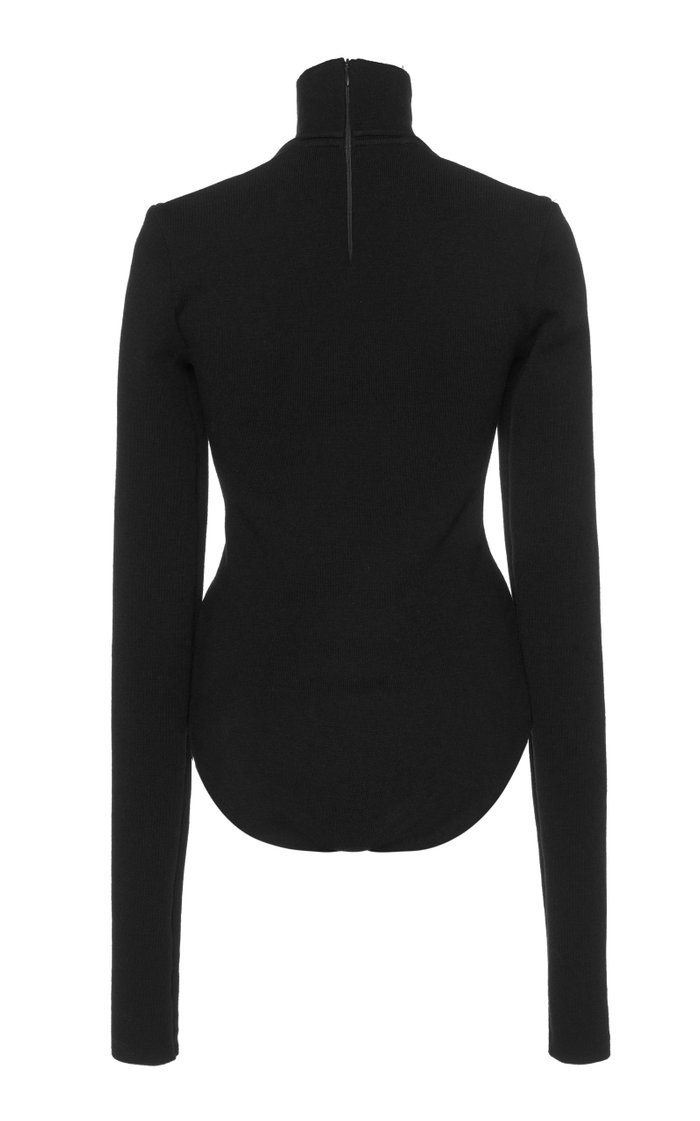 Cutout Turtleneck Stretch-Wool Crepe Bodysuit
