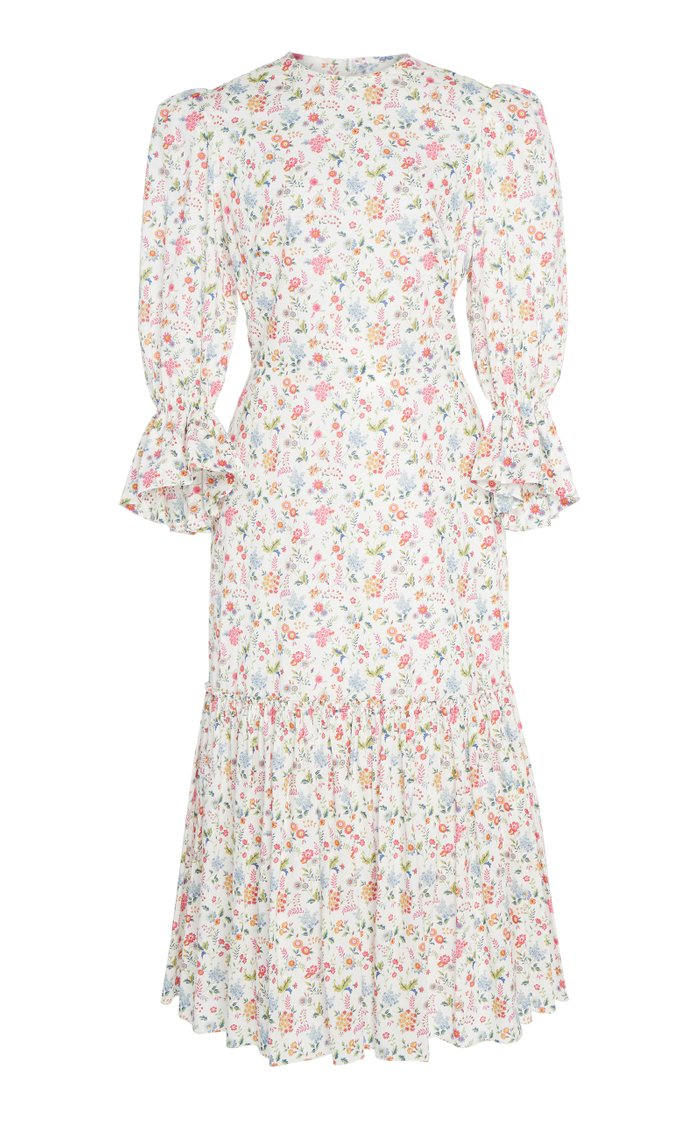 Floral Song Bird Printed Cotton Maxi Dress