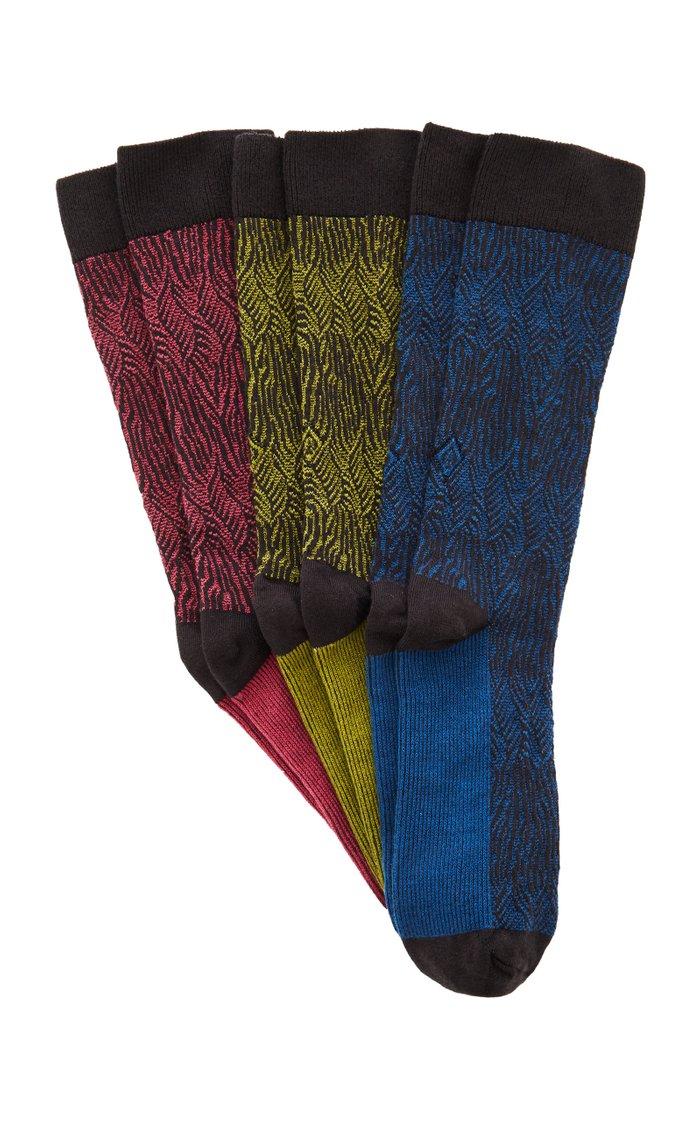Dandy Set-of-Three Cotton-Blend Socks