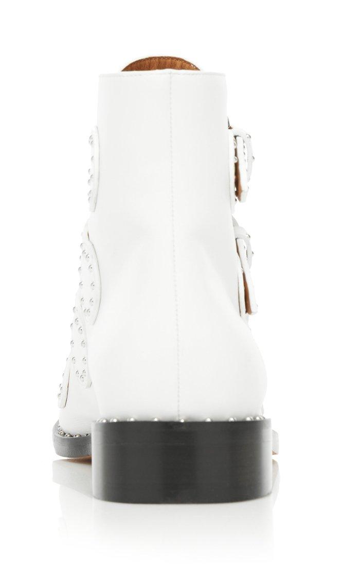 Elegant Stud-Embellished Leather Ankle Boots