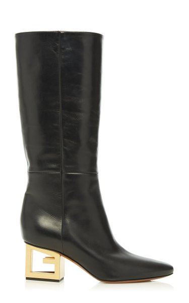 Triangle Leather Mid-Calf Boots