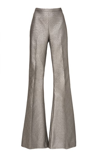 Flared Metallic Matelasse Pants