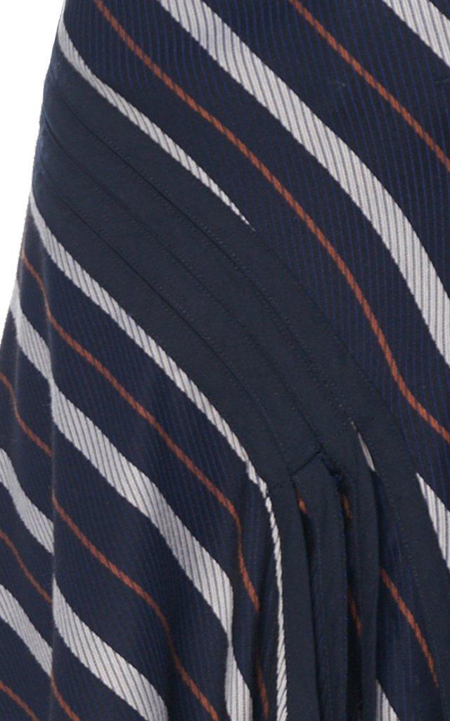 Radiant Striped Shell Midi Skirt