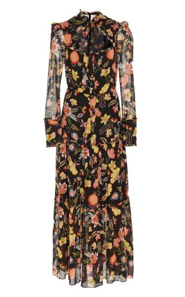 Sabryna Ruffle-Tiered Floral-Print Midi Dress
