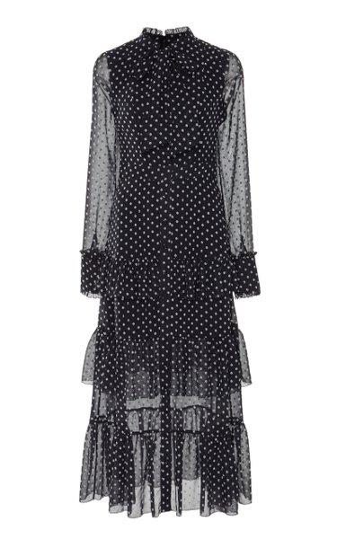 Parissa Pussy-Bow Chiffon Midi Dress