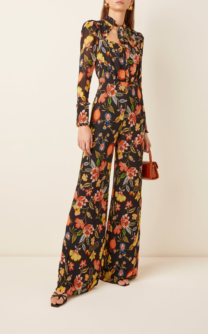 Imogene Tie-Neck Floral-Print Jersey Jumpsuit