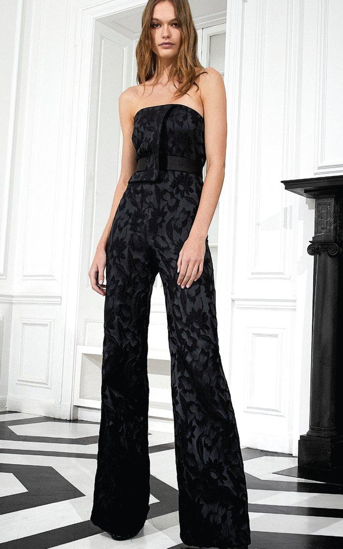 Venetia Floral Jacquard Wide-Leg Jumpsuit