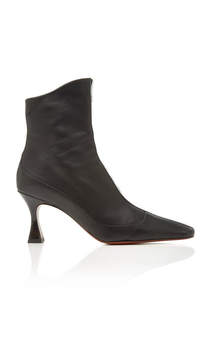 Duck Patent Leather-Trimmed Ankle Boots