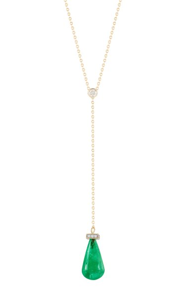 14K Gold, Emerald And Diamond Necklace