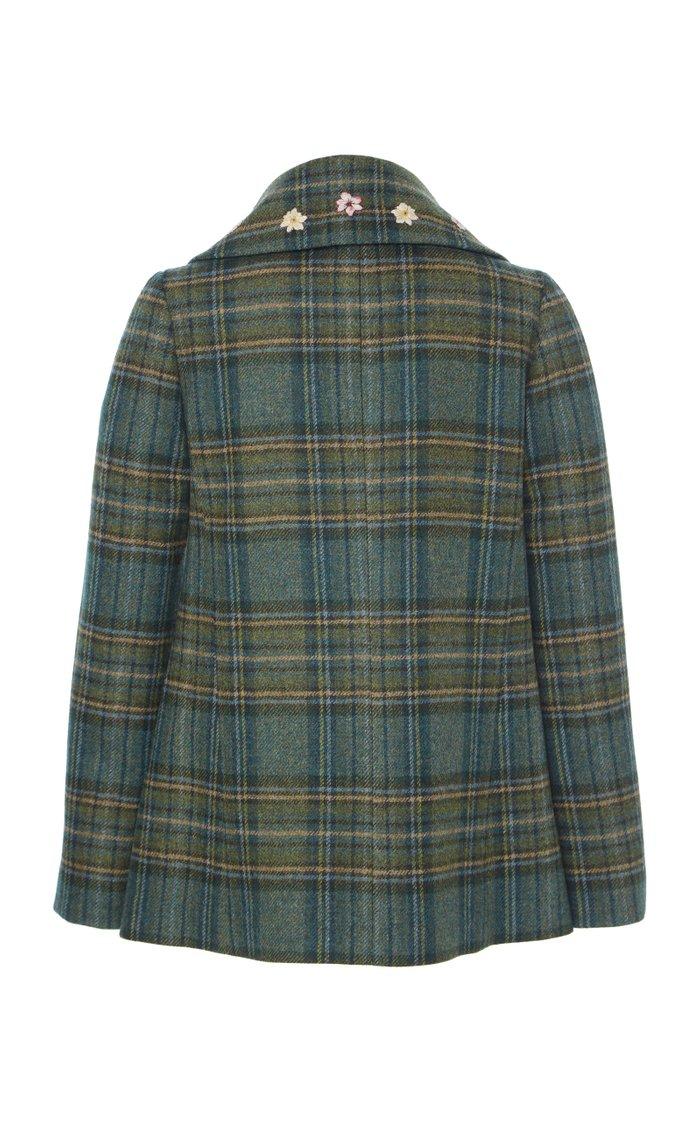 Plaid Virgin Wool Peacoat