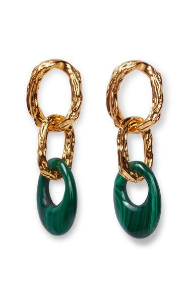 Evergreen Gold-Plated Metal And Malachite Drop Earrings