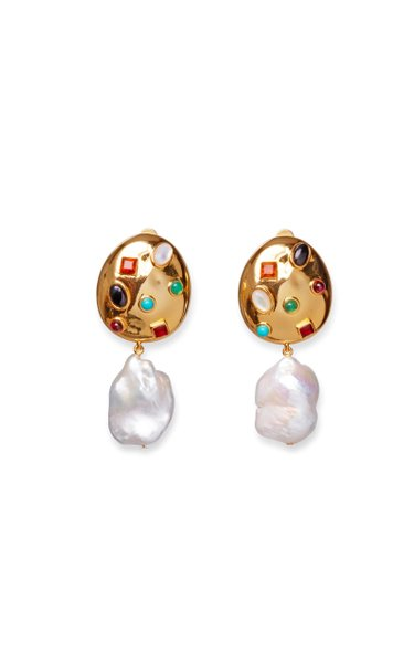 La Bomba Gold-Plated Brass And Pearl Earrings