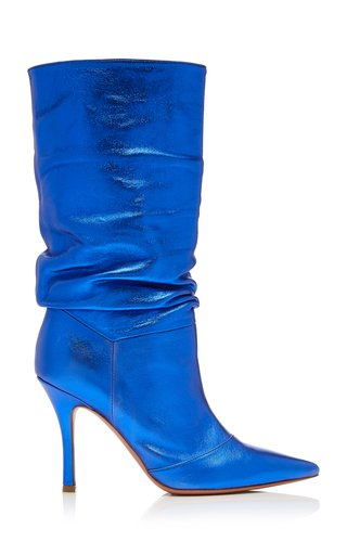Ida Metallic Leather Knee Boots