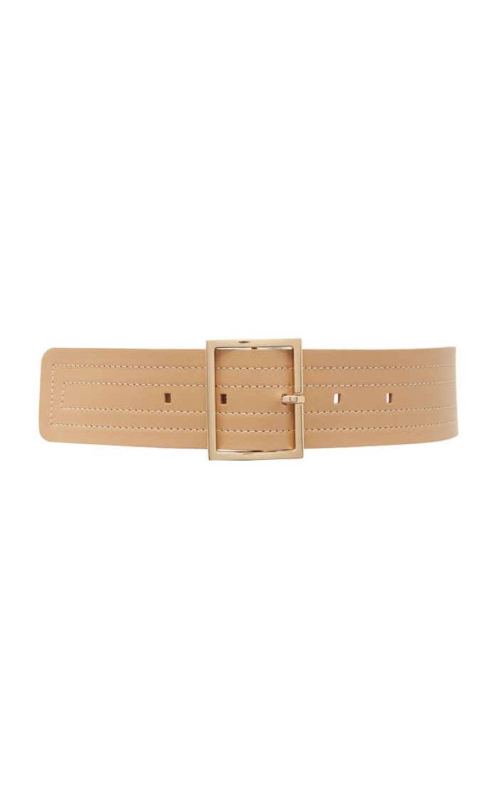 Wide Stitched Leather Belt