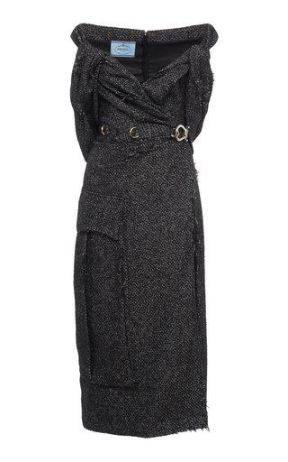 Off-The-Shoulder Wool-Blend Tweed Midi Dress