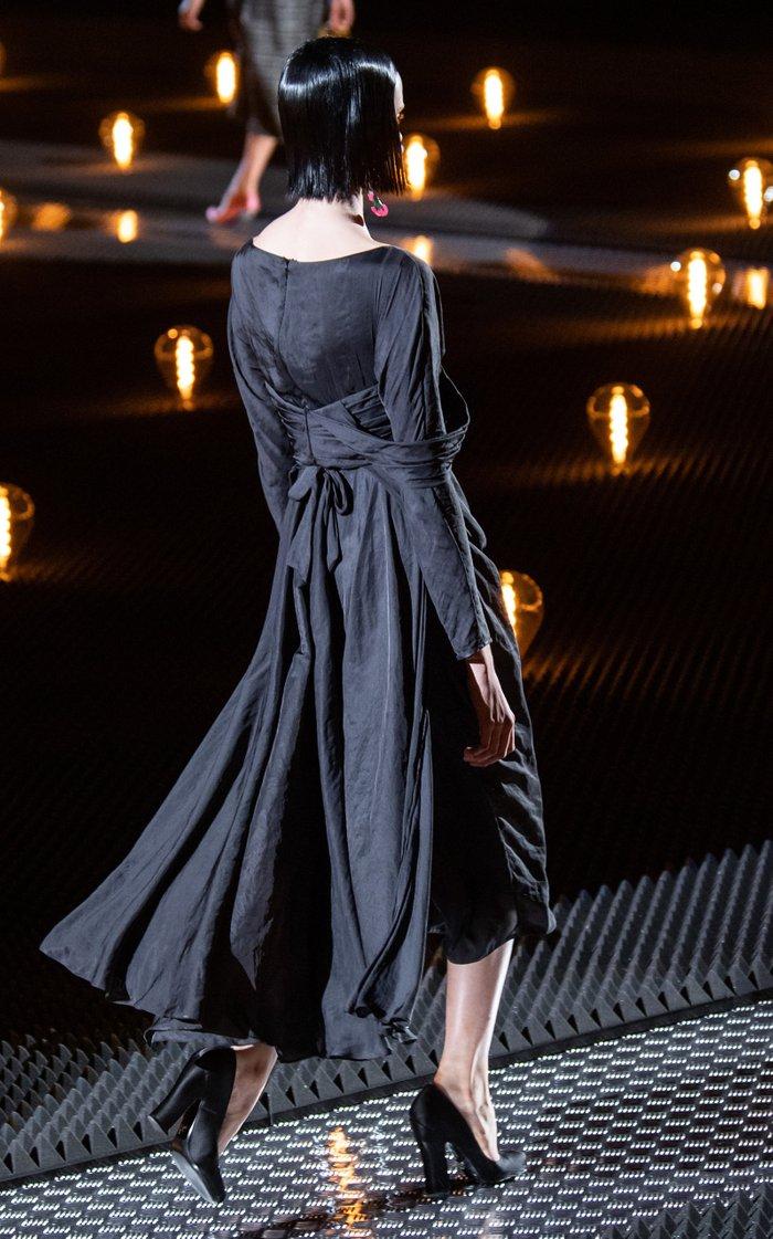 Tie-Detailed Chiffon Midi Dress