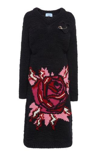 Embellished Intarsia-Knit Wool Midi Dress