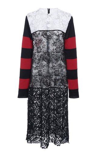 Paneled Striped Cotton-Blend Jersey And Lace Dress