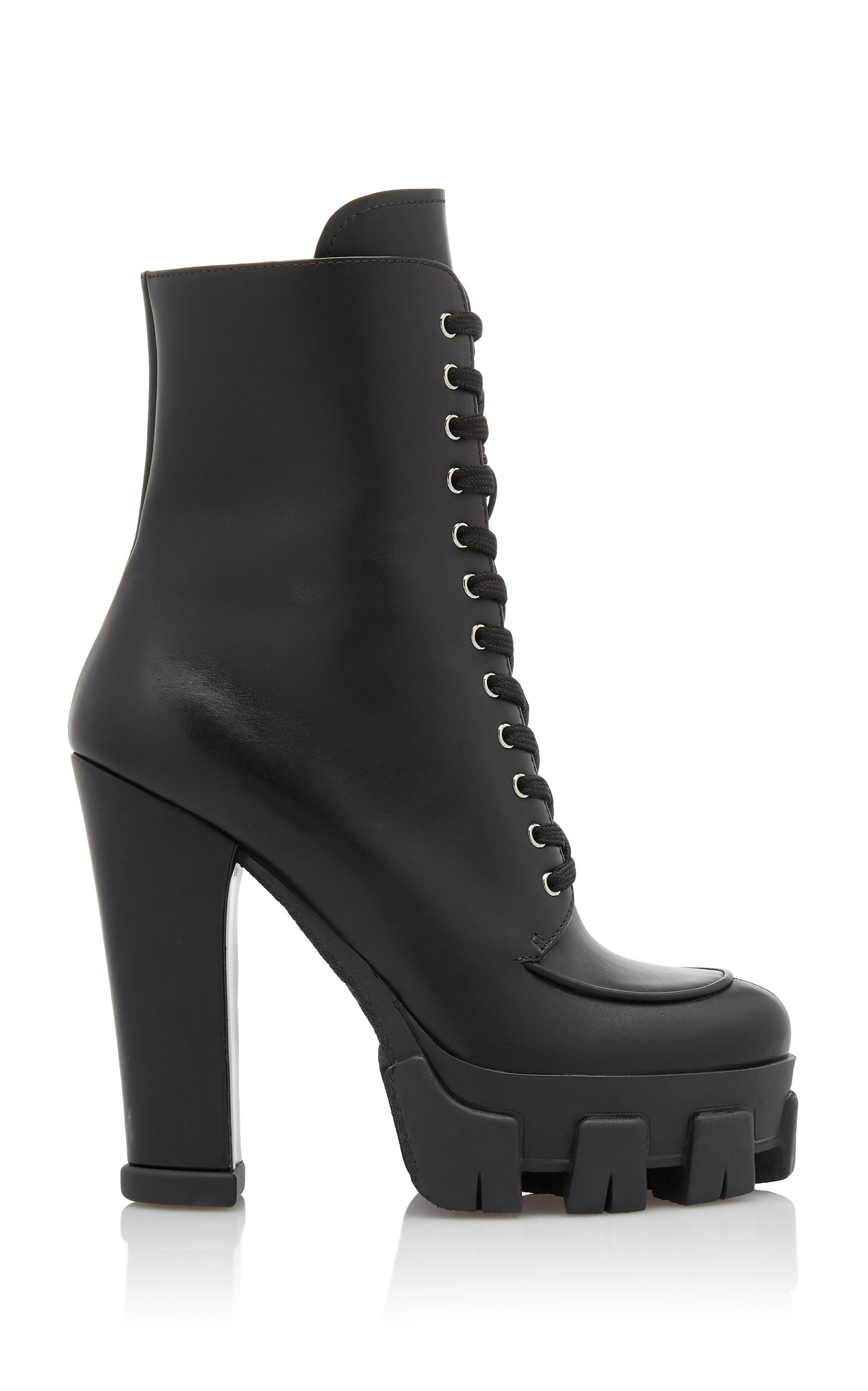 Lace-Up Leather Platform Boots By Prada
