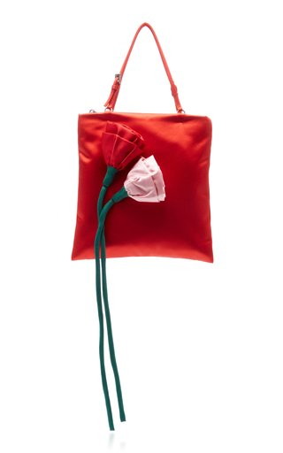 Flower Embellished Raso Mini Top Handle Bag