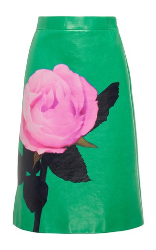 Floral-Print Leather Skirt
