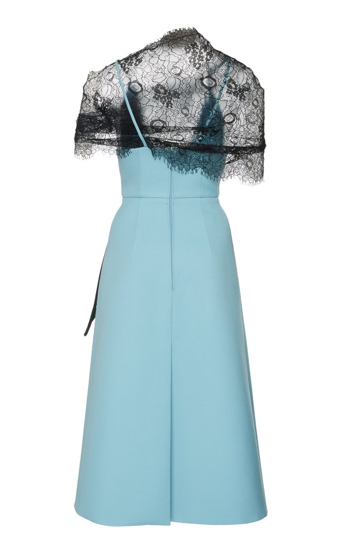 Lace-Paneled Appliquéd Gabardine Dress