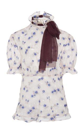 Tie-Detailed Floral-Print Georgette Top