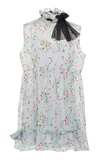 Tie-Detailed Floral-Print Georgette Mini Dress