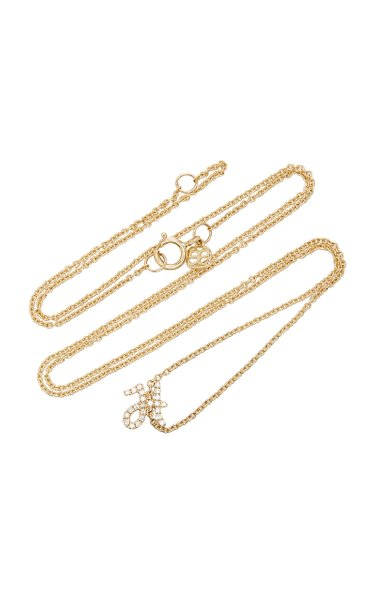 14K Gold Diamond Initial Necklace
