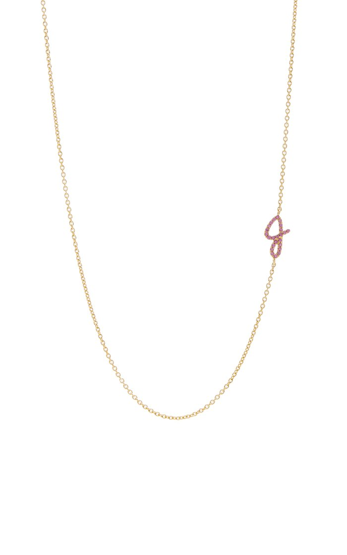 14K Gold Sapphire Initial Necklace