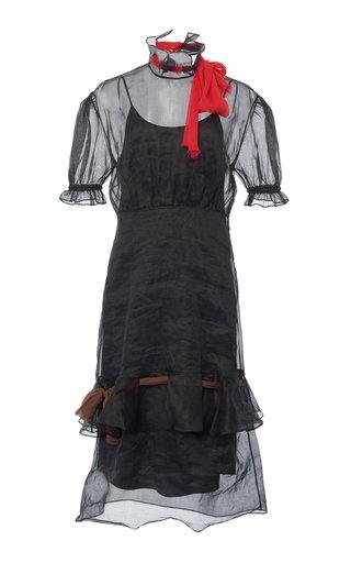 Tie-Detailed Organza Midi Dress