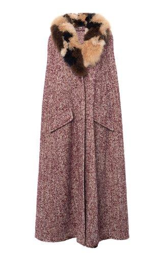 Long Hooded Fur Trim Cape Coat