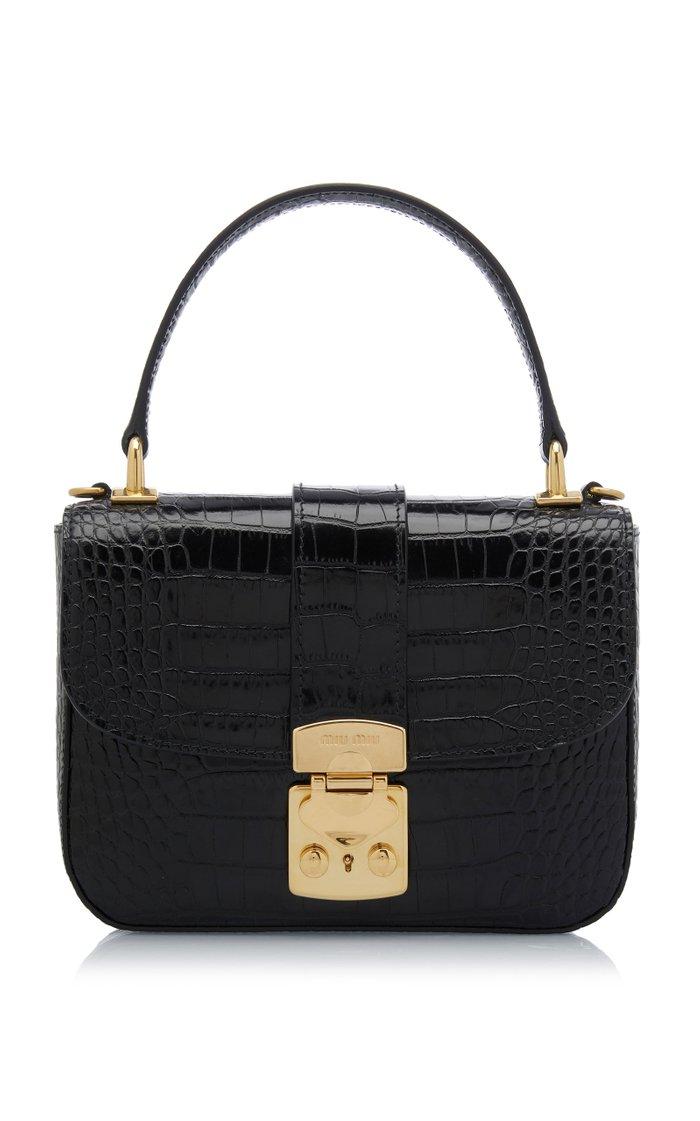 Croc-Effect Leather Top Handle Bag