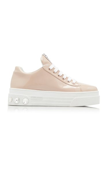 Crystal-Embellished Leather Sneakers