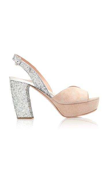 Glittered Suede Platform Sandals