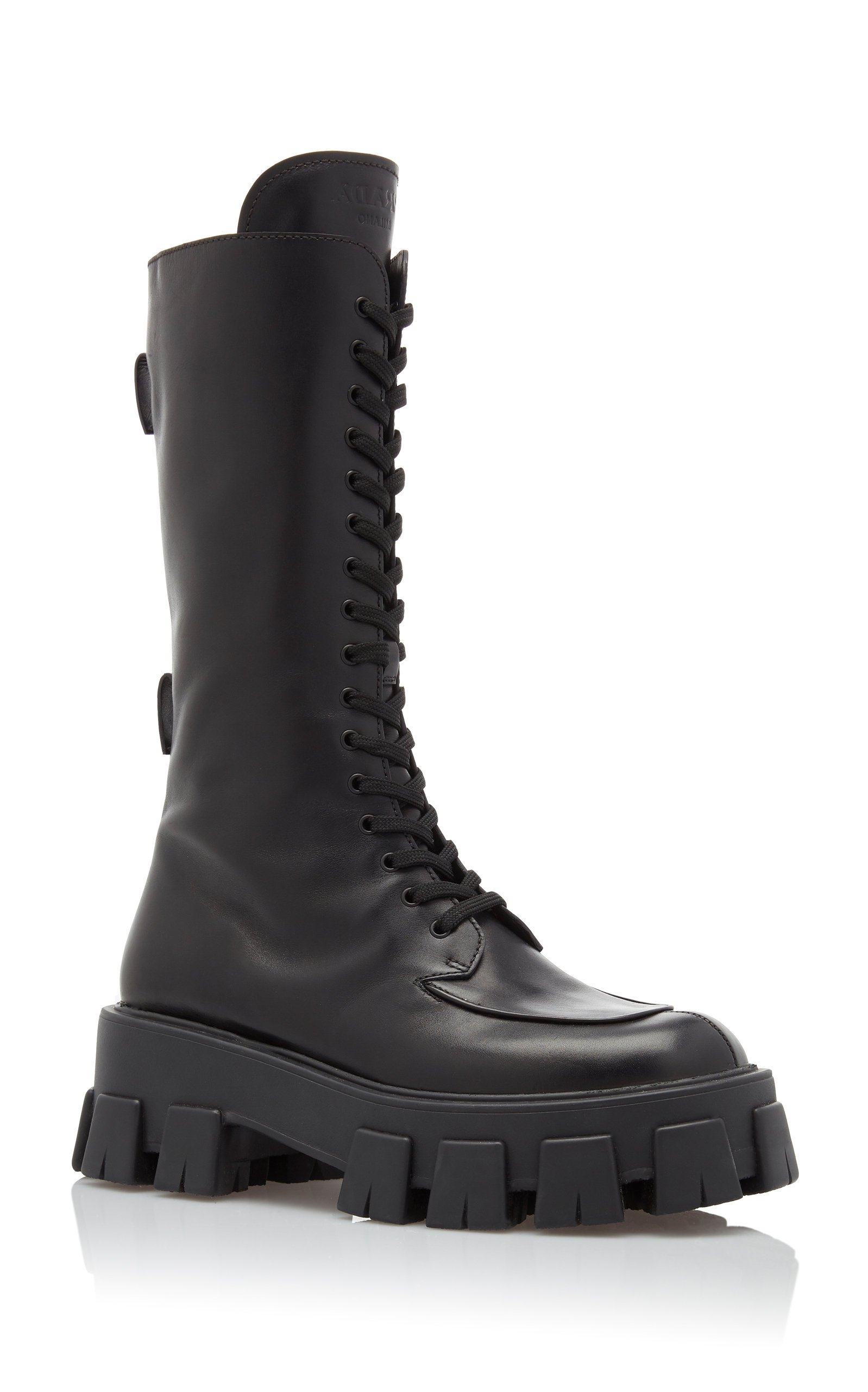 Leather Platform Combat Boots By Prada