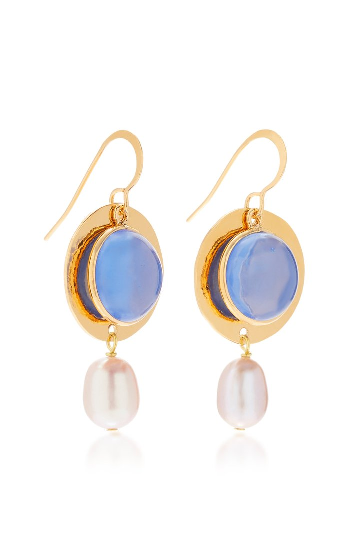 24K Gold-Plated, Bead And Faux Pearl Earrings
