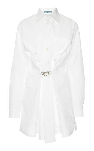 Gathered Poplin Button-Up Shirt