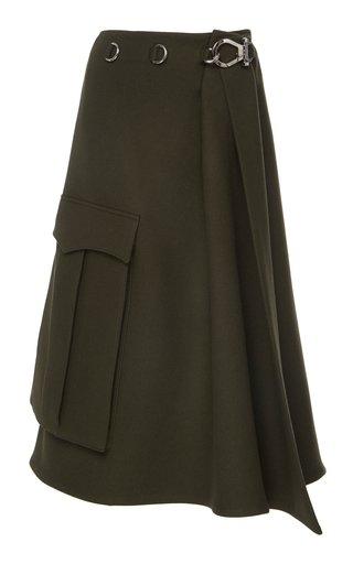 High-Waisted Midi Wrap Skirt