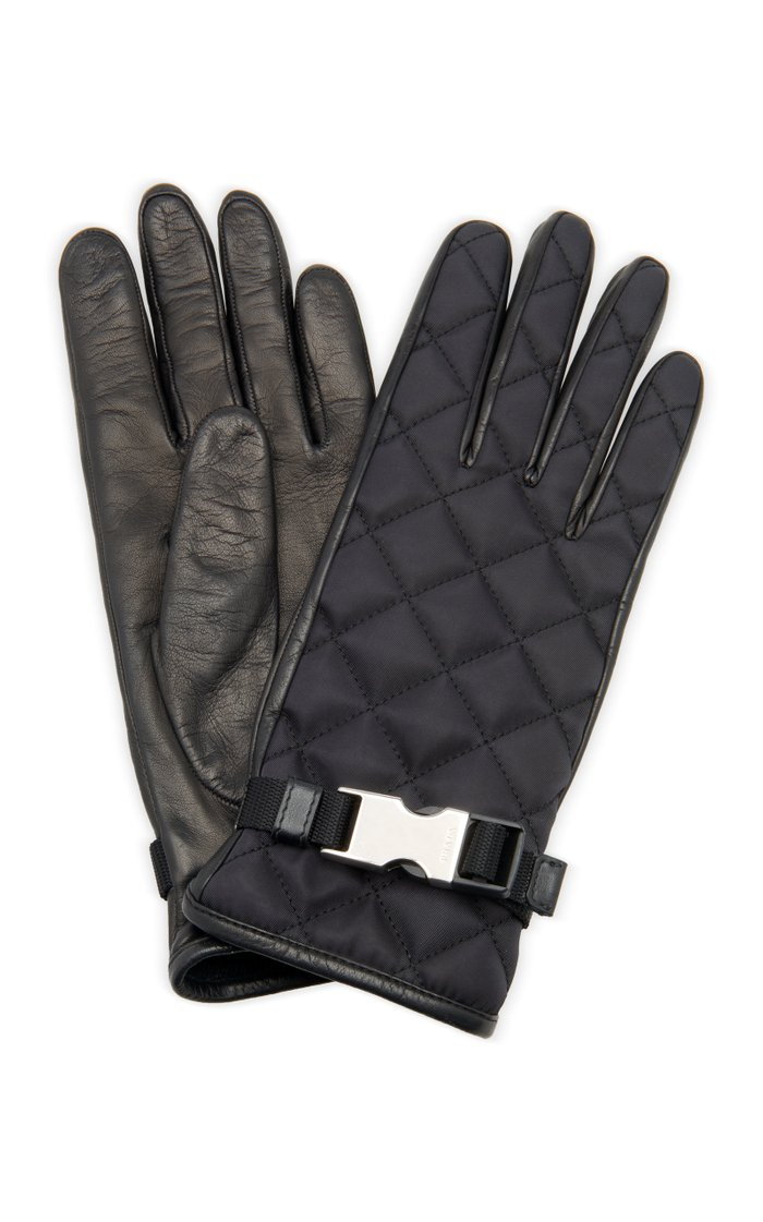 Embellished Quilted Shell And Leather Gloves